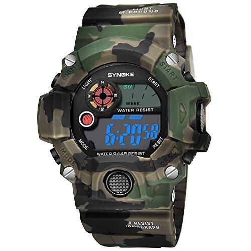 FADDR Multifunktionsuhr Elektronische, Wasserdichte Uhr Jungen Mädchen Sportuhr Datum Alarm Chronograph Stoppuhr Outdoor Mode LED Digitaluhren Jungendliche Armbanduhr(Camo Army Green)