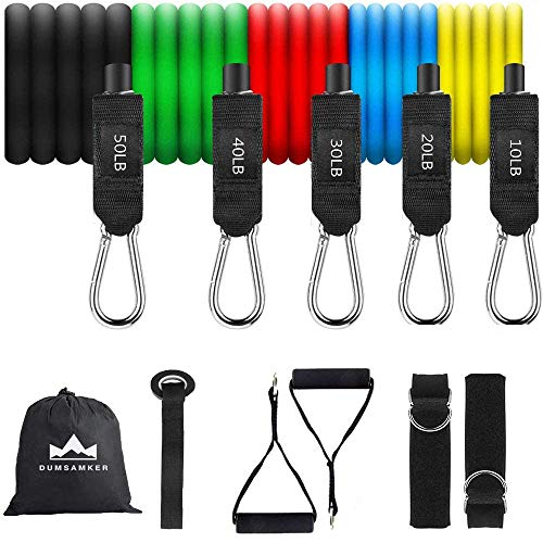 DUMSAMKER 【2020 Newest】 150LB Resistance Bands Set, Exercise Bands with Handles, Ankle Straps, Door Anchor and Guide Book - for Men Women Home Workouts and Resistance Training
