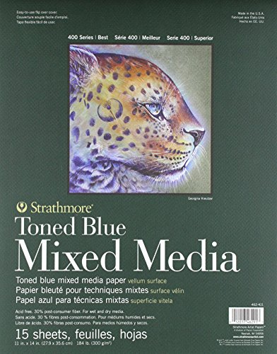 Strathmore 400 Series Toned Blue Mixed Media Pad, 11'x14' Glue Bound, 15 Sheets per Pad