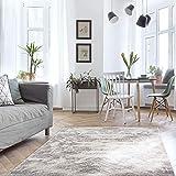 MyShop24h Alfombra para salón, 160 x 230 cm, color gris, pelo corto, jaspeado, moderno, vintage, dormitorio, aspecto de mármol