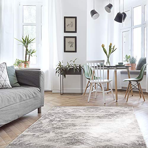 MyShop24h Teppich Flur- 80x300cm - Grau - Kurzflor - Meliert Ornamente Modern Vintage Wohnzimmer Schlafzimmer Marmor Optik Deko