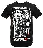 Friday The 13th Shirt Men's Movie Poster Graphics Black T-shirt Tee - Negro - Small