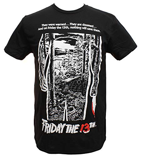 13番目の金曜日 シャツ メンズ 映画ポスター グラフィック ブラック Tシャツ US サイズ: Small カラー: ブラック