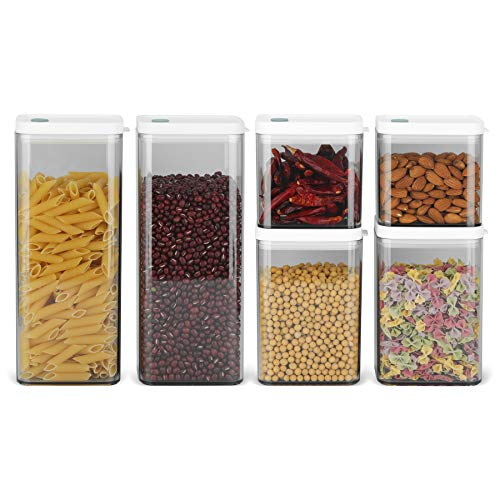 ComSaf Airtight Food Storage Container with Lid24oz37oz64oz Set of 6 Square Airtight Canisters BPA Free Clear Plastic Food Storage Canister Kitchen Pantry Container for Sugar Flour and Cereal