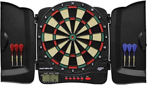 Carromco Elektronische Dartscheibe Panthera-301 – Dartkabinett mit Plastiktüren für 1-8 Spieler, Dartboard mit LCD Anzeige, 32 Spielen und über 500 Varianten, mit 6 Softdarts