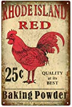 Emmett Holmes Tin Vintage Metal Sign Rhode Island Red Baking Powder Rooster Country Garage for Men Home Decor Poster House Rules Wall Art Decor 8X12 inch