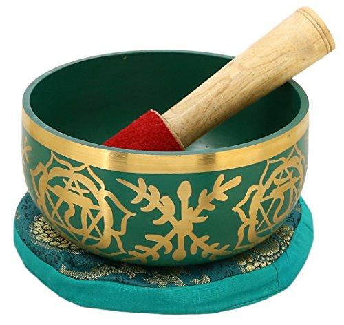 shalinindia anahata verde canto ciotola buddista - sintonizzati per il 4 ° chakra del cuore chakra - ottima qualità in ottone - 5 '- ideale per la meditazione, ayurveda e yoga