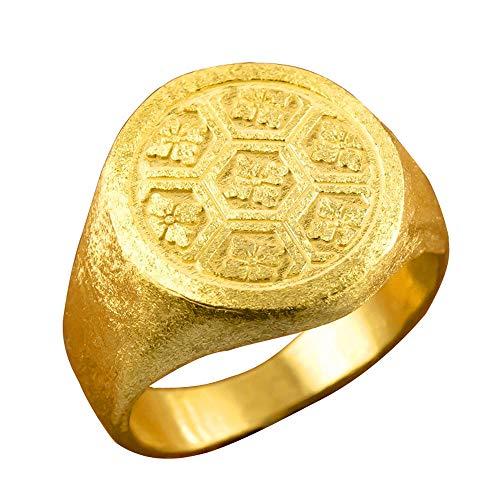 [アトラス]Atrus リング メンズ 純金 24金 印台 亀甲に桔梗紋 幅広 ピンキーリング 指輪 21号
