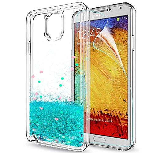 LeYi Hülle Galaxy Note 3 Glitzer Handyhülle mit HD Folie Schutzfolie,Cover TPU Bumper Silikon Treibsand Clear Schutzhülle für Case Samsung Galaxy Note 3 (N9000) Handy Hüllen ZX Turquoise