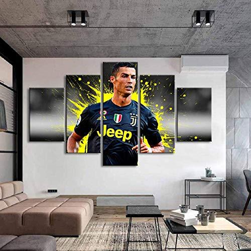 ARXYD Drucke Auf Leinwand Sport 5 Stück Cristiano Ronaldo Poster Wand Leinwand Gemälde Wandkunst Fußball Poster Drucke Kinderzimmer Home