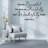 You are Beautiful for You are Fearfully and Wonderfully Made - Psalm 139:14 Wall Quotes Decal, Inspirational Vinyl Art Letters Decor, Religious Bible Prayer Verse Sayings Words Sticker