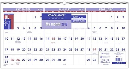 AT A GLANCE 3 Month Reference Wall Calendar December 2017 February 2019 23 1 2 x 12 Horizontal product image