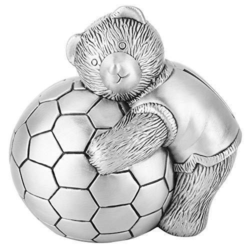 Rehomy Hucha de aleación con diseño de oso pequeño con hucha de fútbol, para ahorrar dinero o para decoración del hogar, regalo para niños