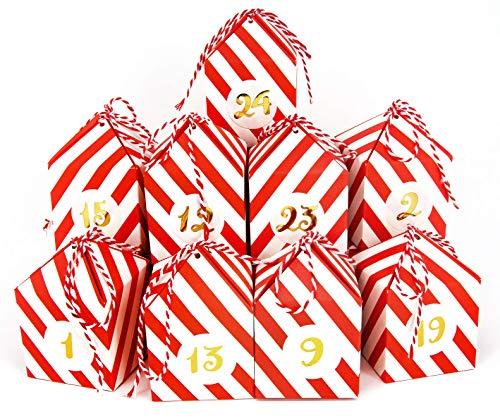 LIMAH® Adventskalender Boxen, Weihnachtskalender DIY Set zum selber befüllen, mit 24 Geschenkboxen, 24 Bändern und 24 Zahlenaufkleber in Gold zu Weihnachten 2020.