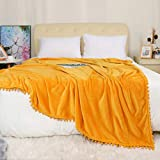 PiccoCasa Fleece Bed Blanket Full Size - Solid Boho Decorative Blanket with Pompom