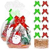 Juego de cesta de mimbre para regalo de Aneco, 2 unidades, para crear su propio mimbre de regalo cesta de mimbre grande transparente cesta bolsas de tirón de lazo de rafia