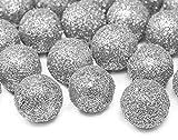Adornos de bola de purpurina para coronas y decoración de mesa, 25 unidades, 2 cm, color plateado