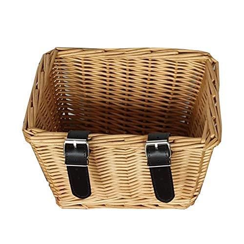 Fietsbagagedragermand polyrotan voor kinderfiets, handgeweven vierkante fietsmand fietsmand van wilgentenen Easy Install afneembare stuurmand tas voor kleine hond winkelen picknick.