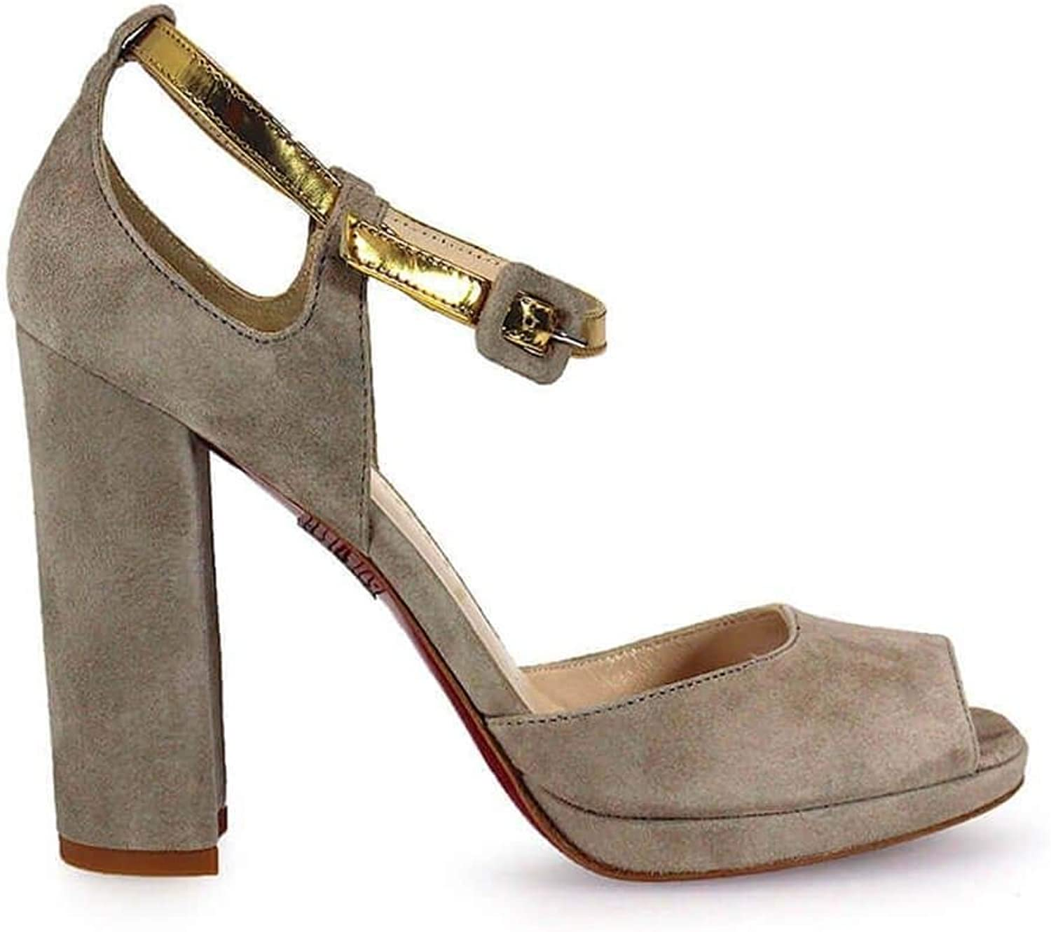 FRANCO COLLI Women's FC1035 Grey Suede Sandals