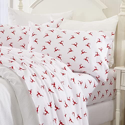 Great Bay Home 4 Piece Extra Soft Reindeer 100% Turkish Cotton Flannel Sheet Set. Heavyweight, Warm, Cozy, Luxury Winter Deep Pocket Bed Sheets. Whittaker Collection (Queen, Reindeer)