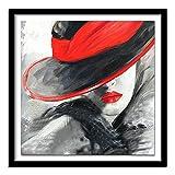ZXXGA DIY 5D Diamante Pintura Conjunto Completo Retrato Mujeres Cristal Rhinestone Bordado Imagen artesanía Regalo para decoración de la Pared del hogar Diamante Redondo 40x40cm