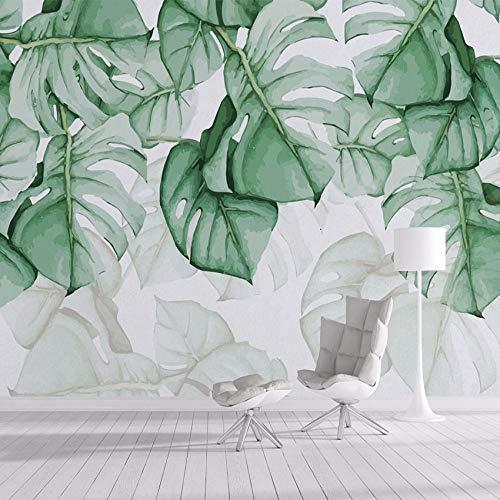 BHXIAOBAOZI Eigen 4D muurschildering groot behang, tropische planten groen blad, moderne Hd-zijde muurschildering poster afbeelding TV sofa achtergrond muur decoratie voor woonkamer 250cm(W)×160cm(H)|8.2×5.24 ft