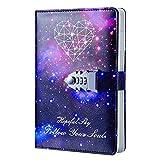 Ai-life - Quaderno in pelle PU con chiusura a combinazione, motivo: cielo stellato, 215 x 150 mm
