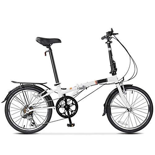 Qinmo Bicicleta Plegable Bicicleta Plegable Universal for Bicicletas de montaña Caminante 6 Velocidad de 21 Pulgadas de Doble suspensión MTB Ruedas (Color : White)