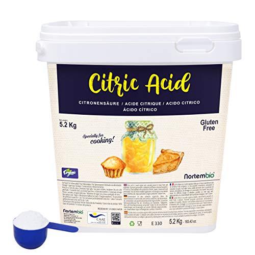 Nortembio Acido Citrico 5,2 Kg. La Migliore Qualità Alimentare. Input Biologico. Polvere, 100% Puro. E-Book Incluso.