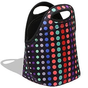 YZCX Bolsa de Almuerzo Neopreno Ultra-Grueso Bolsa Térmica Porta Alimentos Bolsa Comida con Cremallera para Escolares Trabajo Picnic (puntos colores)