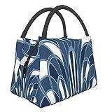 Bolsa de aislamiento portátil de setas abstractas art decó azul jaspeado a la moda portátil de aislamiento de alimentos bolsa de picnic para trabajo, escuela, viajes al aire libre, etc.