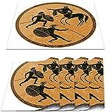 COFEIYISI Manteles Individuales Juego de 4,Soldado Ánfora Mitología Griega Antigua Grecia Escena Negro Figura Alfarería Estilo clásico Dioses Héroe Roma Salvamanteles para la Cocina 30x45cm