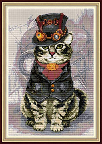 YEESAM ART Cross Stitch Kits Stamped for Adults Beginner Kids, Mighty and Handsome Cat 11CT 48×68cm DIY Embroidery Needlework Kit with Easy Funny Preprinted Patterns Needlepoint Christmas (Cat)