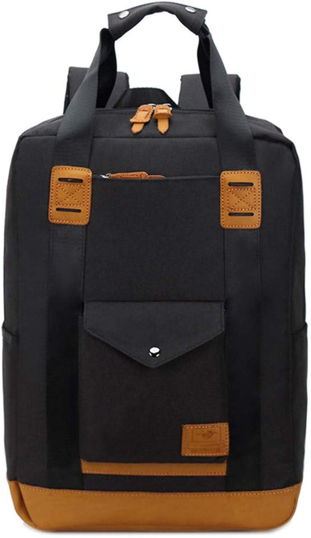 WHY Segeltuchrucksackgeschftsrucksackmnner Wasserdichte Computertasche Schwarze Studententasche