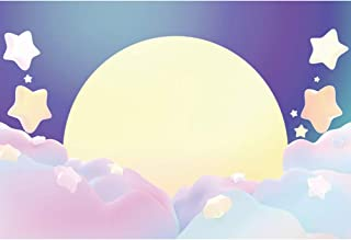 Renaiss 8x5ft Baby Shower Backdrop Golden Full Moon Dreamy Purple Pink Clouds Cute Star Newborn Party Girl's Children Family Birthday Party Decor Background Photo Studio Props