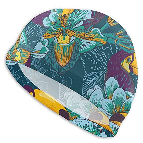Esotico Fiori E Tucano Vacanze artefatto Cuffia Da Nuoto Moda Bianco Daisy Spring Break On Nero Cuffia Da Nuotata Cappello per Donne Uomini