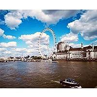 数字によるDIYデジタル絵画パッケージロンドンアイカラーリングウォールアート画像ギフトフレームレス40x50cm