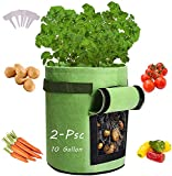 Potato-Grow-Bags, 2 Pack 10 Gallon Felt Potatoes Growing Containers with Handles&Access Flap for Vegetables,Tomato,Carrot, Onion,Fruits,Plants Planting Bag Planter (2-Pack)