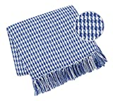 Elvana Home Throw Blanket for Couch Sofa Chair Bed Outdoor 50x60, 100% Cotton Throw Blanket for Adults and Kids, All Season Farmhouse Vintage Houndstooth Throw Blanket with Fringes, Navy Blue