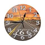 Famous US Route 66 Modern Mute DIY Frameless Large Wall Clock Ideal for Any Room in Home Dining Room Kitchen Office School
