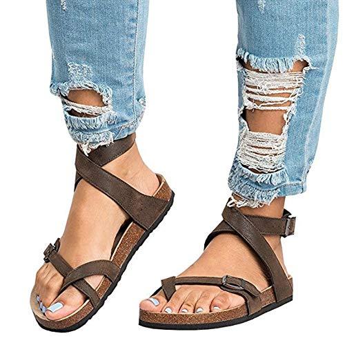 LXYYBFBD Sandalen Voor Vrouwen, 02 Bruin Etnische Boheemse Zomer Schoenen Vrouwen Pompon Cork Sandalen Gladiator Roman Bandage Schoenen Womens Flat Sandalen