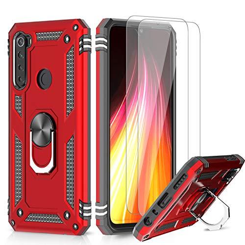 LeYi Funda Xiaomi Redmi Note 8T con [2-Unidades] Cristal Vidrio Templado,Armor Carcasa con 360 Grados Anillo iman Soporte Hard PC y Silicona TPU Bumper Antigolpes Case para Movil Note 8T,Rojo