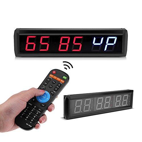Zouminyy Reloj digital LED, 2.3 `` Temporizador de intervalo de LED programable multifunción Gran cronómetro Gimnasio en casa Reloj de fitness Decoración de escritorio(EU)