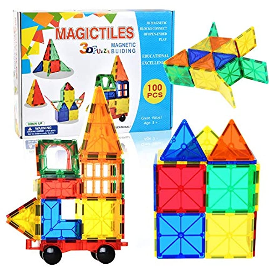 LCLZ Creativity Puzzle Early Learning Toys Magnetic Suction Construction Block Games Multi-Shape Change Suitable for Boys and Girls 100pcs Stacked Building Blocks Game Novelty