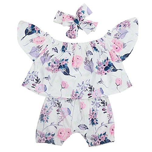 Zhhlinyuan Été Enfants Filles Vêtements 3 pièces Ensemble Floral Impression Volant Manches Tops avec Shorts et Bandeau Bow-Knot