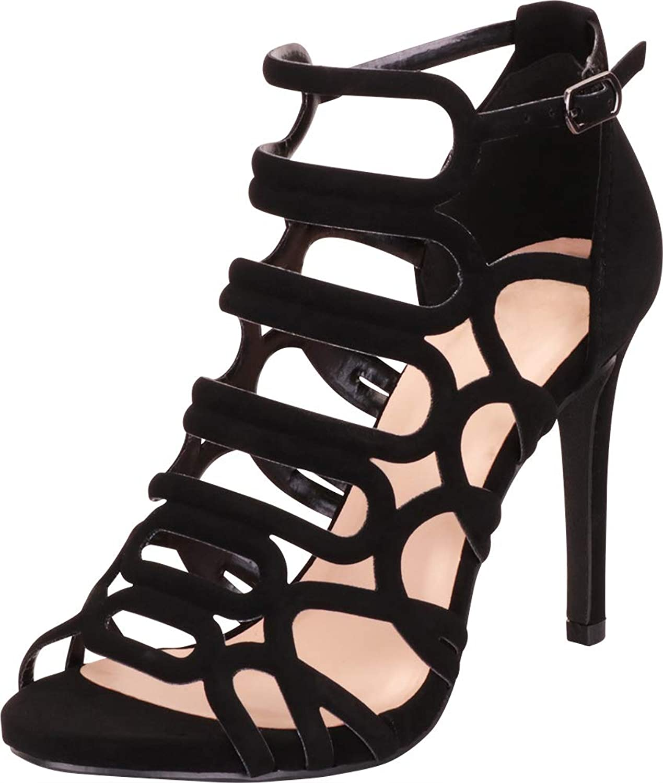 Cambridge Select Women's Strappy Cutout Caged Stiletto High Heel Sandal