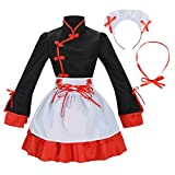 Sheface Women's Cosplay Lolita Fancy Dress French Maid Costume (XXX-Large, Black)