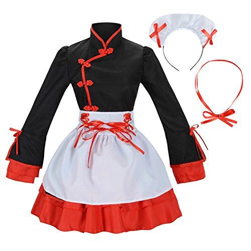 Double Villages Vestido de Albornoz Kimono de Estilo Japonés Anime Cosplay Yukata Series Verano de Japón Chicas Lindas Cosplay de Anime Disfraces (Negro & Blanco, L)