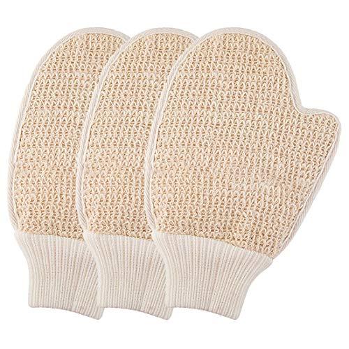 Peeling-Handschuhe, natürlich, Peeling-Handschuhe, Peeling-Waschlappen, entfernt abgestorbene Haut, 3 Stück