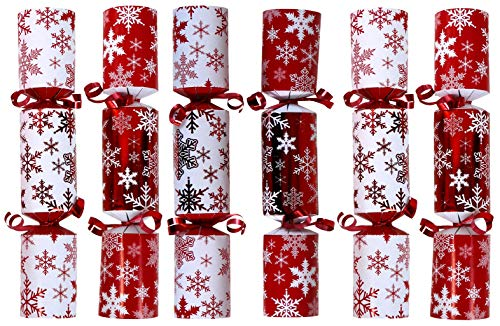 Iconikal 9-inch Christmas No-Snap Party Favor, Red Snowflakes, 6-Pack